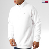 /achat-sweats-col-zippe/tommy-hilfiger-jeans-sweat-col-zippe-polar-fleece-mock-neck-7037-blanc-192562.html