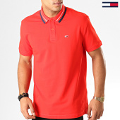 /achat-polos-manches-courtes/tommy-hilfiger-jeans-polo-manches-courtes-classics-tipped-7195-rouge-192581.html