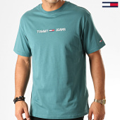 /achat-t-shirts/tommy-hilfiger-jeans-tee-shirt-small-logo-7231-bleu-tuquoise-192596.html