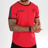 /achat-t-shirts-longs-oversize/final-club-tee-shirt-oversize-avec-bandes-et-broderies-312-rouge-192910.html