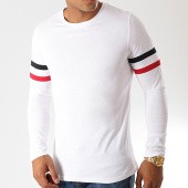 /achat-t-shirts-manches-longues/lbo-tee-shirt-manches-longues-avec-bandes-tricolore-886-blanc-192913.html