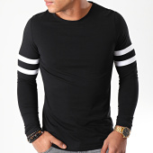 /achat-t-shirts-manches-longues/lbo-tee-shirt-manches-longues-avec-bandes-blanches-887-noir-192914.html