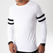 /achat-t-shirts-manches-longues/lbo-tee-shirt-manches-longues-avec-bandes-noires-888-blanc-192915.html