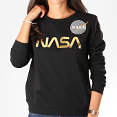 /achat-sweats-col-rond-crewneck/alpha-industries-sweat-crewneck-femme-nasa-pm-198037-noir-dore-192943.html