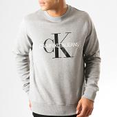 /achat-sweats-col-rond-crewneck/calvin-klein-sweat-crewneck-4313-monogram-gris-chine-192992.html
