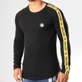 /achat-t-shirts-manches-longues/deeluxe-tee-shirt-manches-longues-oversize-a-bandes-litium-noir-jaune-blanc-193037.html