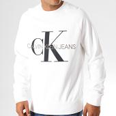 /achat-sweats-col-rond-crewneck/calvin-klein-jeans-sweat-crewneck-monogram-3222-blanc-193164.html