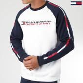 /achat-sweats-col-rond-crewneck/tommy-sport-sweat-crewneck-a-bandes-fleece-0276-blanc-bleu-marine-rouge-193103.html