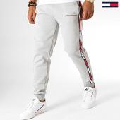 /achat-pantalons-joggings/tommy-sport-pantalon-jogging-a-bandes-fleece-0294-gris-chine-blanc-rouge-193104.html