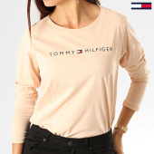 /achat-t-shirts-manches-longues/tommy-hilfiger-tee-shirt-manches-longues-femme-cn-logo-1910-beige-193141.html