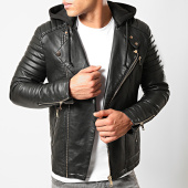 /achat-vestes-biker/lbo-veste-biker-avec-capuche-79716-1-noir-dore-194249.html