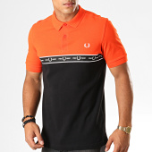 /achat-polos-manches-courtes/fred-perry-polo-manches-courtes-taped-chest-m7510-orange-noir-194423.html