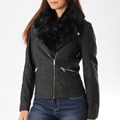 /achat-vestes-biker/only-veste-biker-femme-col-fourrure-classy-noir-dore-194507.html