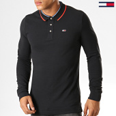 /achat-polos-manches-longues/tommy-hilfiger-jeans-polo-slim-a-manches-longues-6943-noir-194384.html