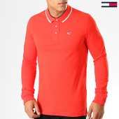 /achat-polos-manches-longues/tommy-hilfiger-jeans-polo-slim-a-manches-longues-6943-rouge-194388.html