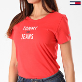 /achat-t-shirts/tommy-hilfiger-jeans-tee-shirt-slim-femme-square-logo-7155-rouge-194416.html