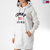/achat-robes/tommy-hilfiger-jeans-robe-sweat-capuche-femme-logo-7233-gris-chine-194419.html