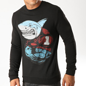 /achat-sweats-col-rond-crewneck/berry-denim-sweat-crewneck-a-strass-jb18085-noir-194636.html