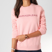 /achat-sweats-col-rond-crewneck/calvin-klein-jeans-sweat-crewneck-femme-institutional-regula-2483-rose-194750.html
