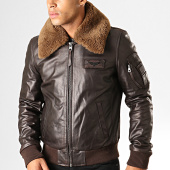 /achat-vestes-cuir/redskins-veste-en-cuir-col-mouton-commander-stricking-marron-194670.html