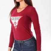 /achat-t-shirts-manches-longues/guess-tee-shirt-slim-femme-manches-longues-w94i88-k7de0-bordeaux-195155.html