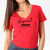 https://www.laboutiqueofficielle.com/achat-t-shirts/kaporal-tee-shirt-slim-col-v-femme-xavra-rouge-195438.html