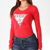 /achat-t-shirts-manches-longues/guess-tee-shirt-slim-femme-manches-longues-w94i88-k7de0-rouge-195803.html