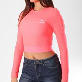 /achat-t-shirts-manches-longues/puma-tee-shirt-de-sport-crop-femme-manches-longues-classics-rib-595196-rose-fluo-196023.html