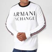 /achat-sweats-col-rond-crewneck/armani-exchange-sweat-crewneck-a-bandes-6gzm97-zj4dz-blanc-196426.html