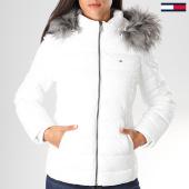 /achat-doudounes/tommy-hilfiger-jeans-doudoune-femme-fourrure-essential-hooded-7341-blanc-gris-197159.html