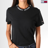 /achat-t-shirts/tommy-hilfiger-jeans-tee-shirt-slim-femme-branded-neck-7354-noir-197438.html