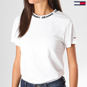 /achat-t-shirts/tommy-hilfiger-jeans-tee-shirt-slim-femme-branded-neck-7354-blanc-197439.html