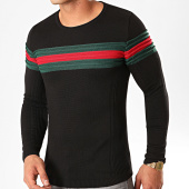 /achat-pulls/lbo-pull-avec-bande-vert-et-rouge-jum-23-noir-197688.html