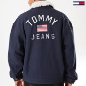 /achat-vestes/tommy-jeans-veste-col-fourrure-wool-trucker-7189-bleu-marine-beige-197612.html