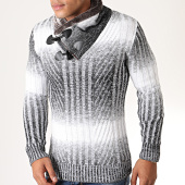 /achat-pulls/american-people-pull-col-amplified-fourrure-present-gris-chine-blanc-198122.html