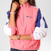 /achat-sweats-col-zippe/champion-sweat-col-zippe-femme-112290-rose-bleu-blanc-198130.html