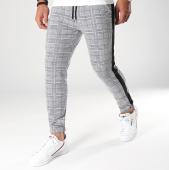 /achat-pantalons-carreaux/frilivin-pantalon-a-carreaux-avec-bandes-cordons-noirs-1332-gris-198974.html