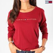 /achat-t-shirts-manches-longues/tommy-hilfiger-tee-shirt-manches-longues-femme-cn-logo-1908-bordeaux-199014.html
