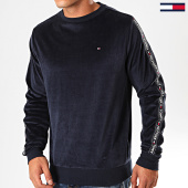 /achat-sweats-col-rond-crewneck/tommy-hilfiger-sweat-crewneck-velours-a-bandes-track-1657-bleu-marine-199492.html