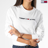 /achat-t-shirts-manches-longues/tommy-hilfiger-jeans-tee-shirt-manches-longues-femme-clean-linear-logo-7418-blanc-199552.html