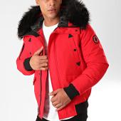 /achat-vestes/comme-des-loups-veste-zippee-capuche-fourrure-texas-rouge-noir-199613.html