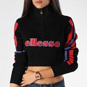 /achat-pulls/ellesse-pull-col-zippe-femme-crop-a-bandes-madonna-knit-jumper-noir-violet-rouge-199586.html