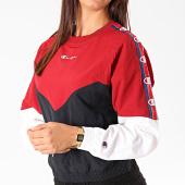 /achat-sweats-col-rond-crewneck/champion-sweat-crewneck-femme-112550-bordeaux-bleu-marine-blanc-199714.html