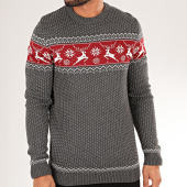 /achat-pulls/selected-pull-deer-gris-anthracite-bordeaux-blanc-200107.html