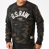 /achat-sweats-col-rond-crewneck/g-star-sweat-crewneck-camouflage-graphic-slim-d15675-c022-vert-marron-200471.html