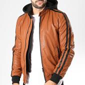/achat-vestes-biker/classic-series-veste-biker-capuche-a-bandes-tr-16957-camel-noir-200688.html