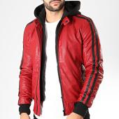 /achat-vestes-biker/classic-series-veste-biker-capuche-a-bandes-tr-16957-rouge-noir-200692.html