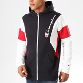 /achat-sweats-zippes-capuche/champion-sweat-zippe-capuche-colour-block-terry-213639-bleu-marine-blanc-201254.html