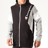 /achat-sweats-zippes-capuche/champion-sweat-zippe-capuche-colour-block-terry-213639-noir-gris-chine-201255.html