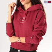 /achat-sweats-capuche/tommy-hilfiger-jeans-sweat-capuche-femme-crop-modern-logo-7119-bordeaux-201295.html